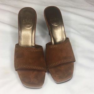 Stuart Weitzman Brown Suede Slide On Heels